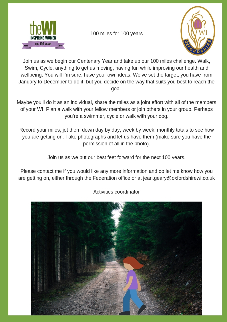 100 miles for 100 yearsJoin us as we begin our Centenary Year and take up our 100 miles challenge. Walk, Swim, Cycle, anything to get us moving, having fun while improving our health and